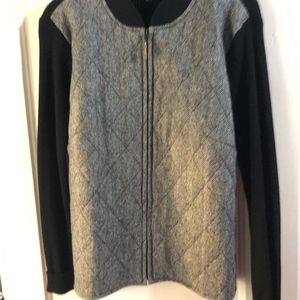 J. McLaughlin Tweed Herringbone Quilted Zip Up M